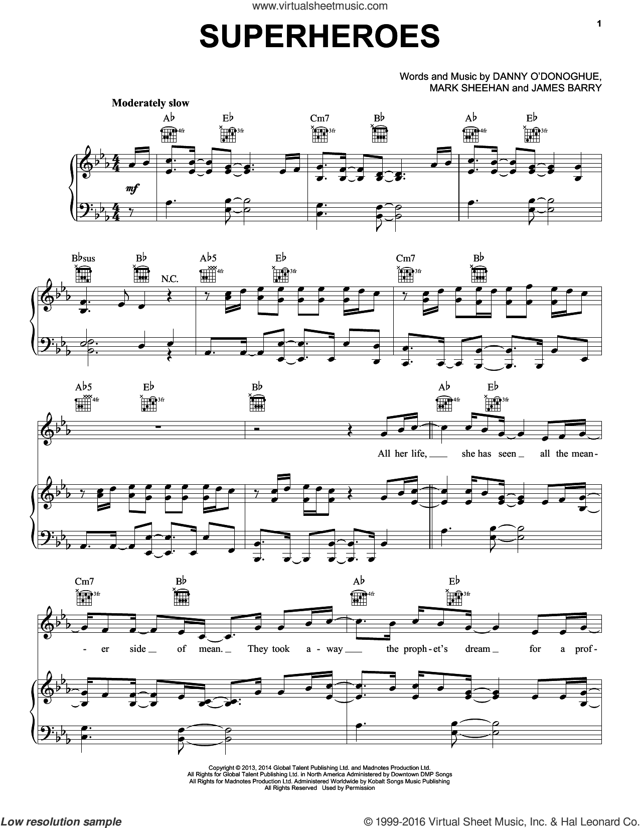 Superheroes sheet music for voice, piano or guitar by The Script, James Barry and Mark Sheehan, intermediate skill level