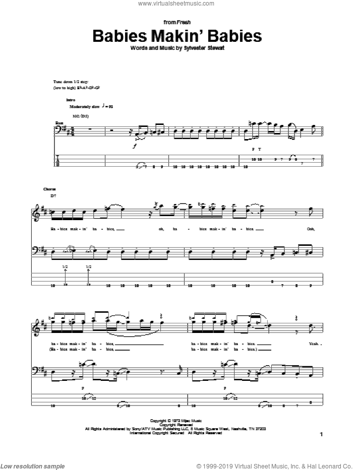 Babies Makin' Babies sheet music for bass (tablature) (bass guitar) by Sly & The Family Stone, Sly And The Family Stone and Sylvester Stewart, intermediate skill level