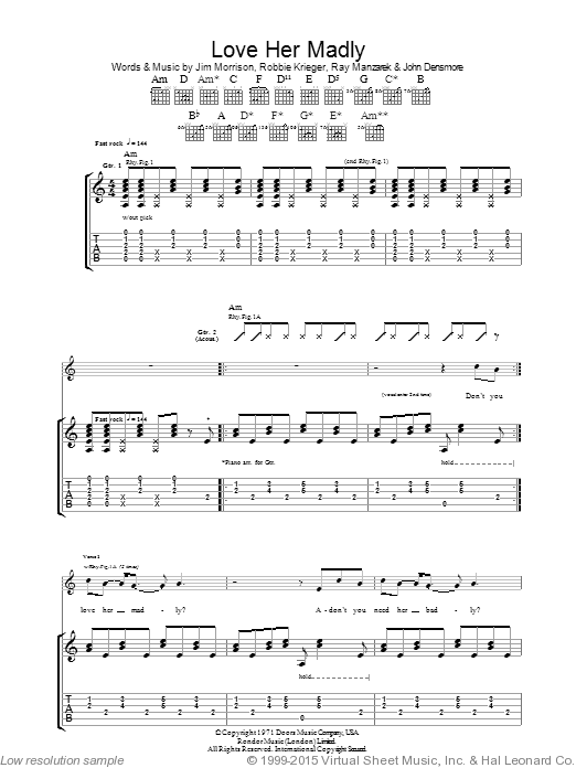 Love Her Madly sheet music for guitar (tablature) by Robbie Krieger