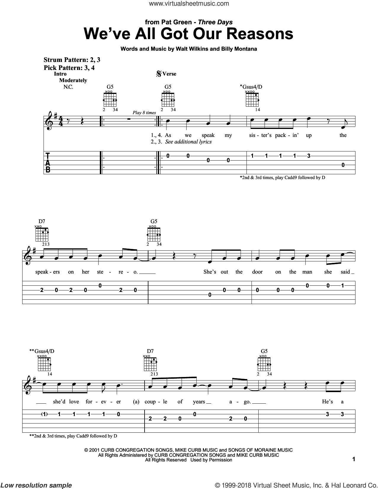 We've All Got Our Reasons sheet music for guitar solo (easy tablature) by Pat Green, Billy Montana and Walt Wilkins, easy guitar (easy tablature)