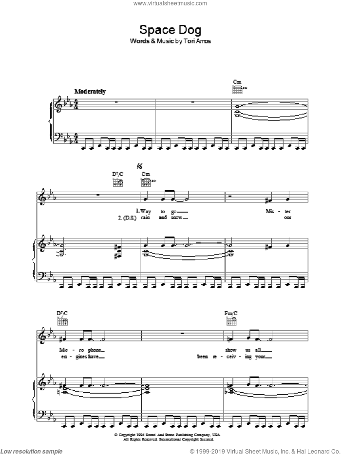 Space Dog sheet music for voice, piano or guitar by Tori Amos