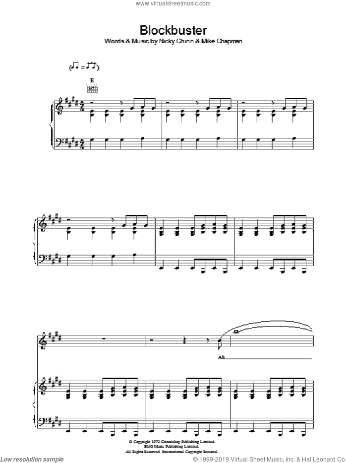 Blockbuster sheet music for voice, piano or guitar by Nicky Chinn