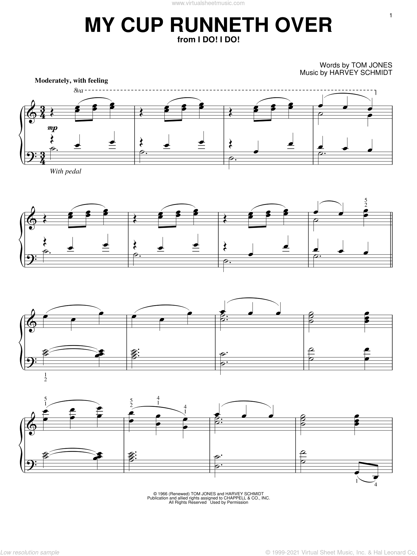 My Cup Runneth Over sheet music for piano solo by Ed Ames, Harvey Schmidt and Tom Jones, intermediate skill level
