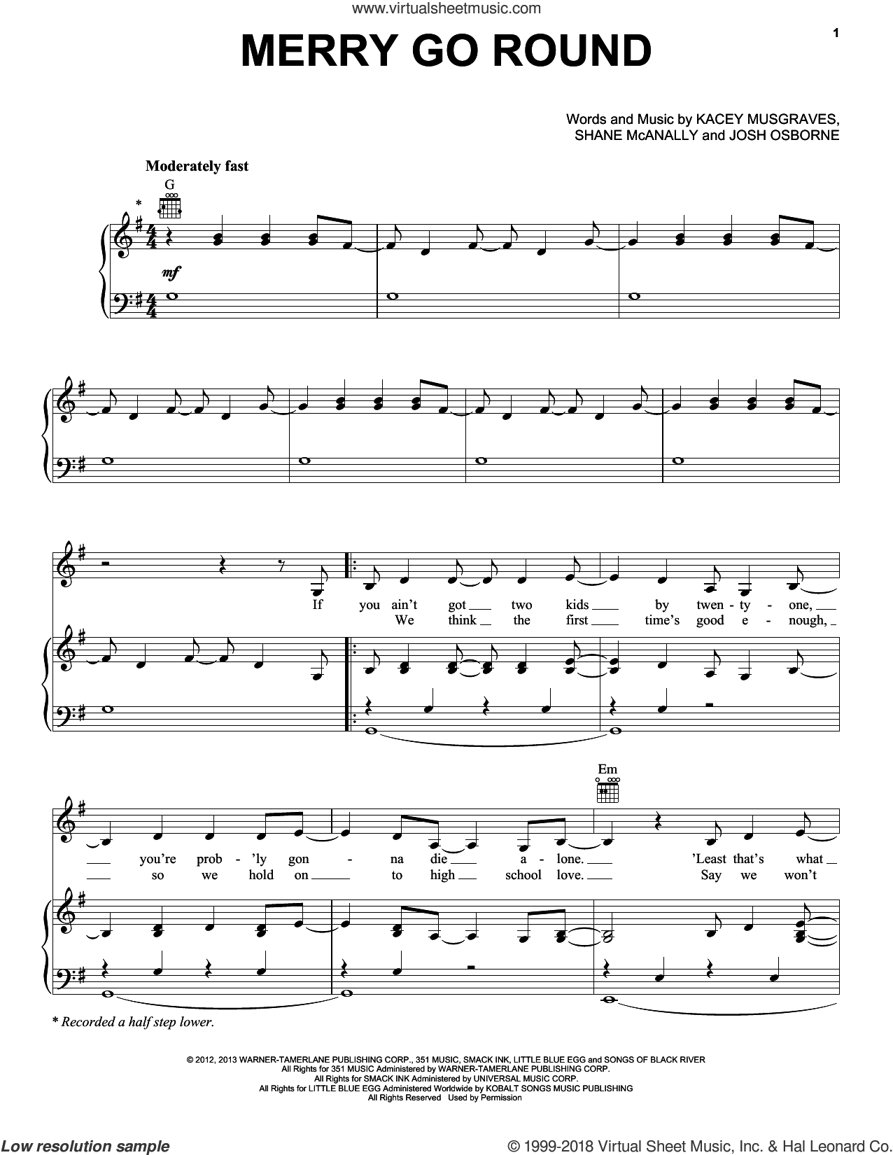 Merry Go Round sheet music for voice, piano or guitar by Kacey Musgraves, Josh Osborne and Shane McAnally, intermediate skill level
