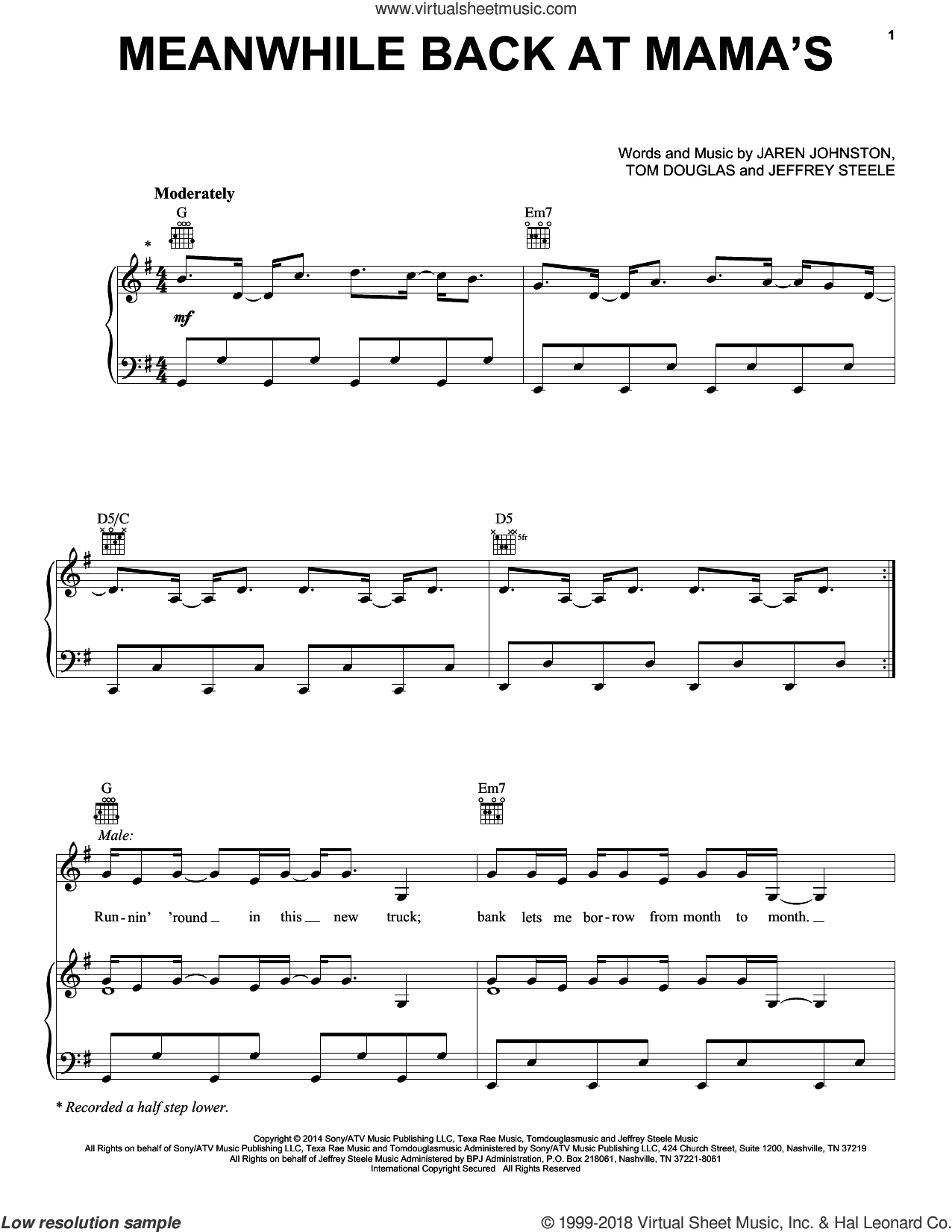 Meanwhile Back At Mama's sheet music for voice, piano or guitar by Tom Douglas, Faith Hill with Tim McGraw, Jaren Johnston and Jeffrey Steele, intermediate skill level