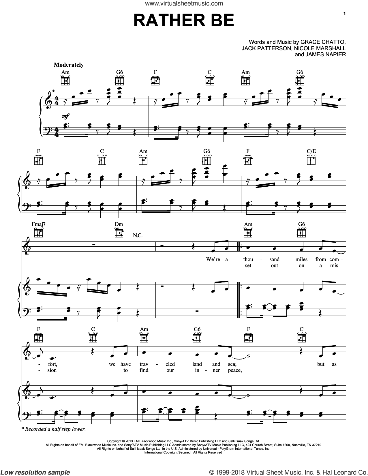Rather Be sheet music for voice, piano or guitar by Clean Bandit feat. Jess Glynne, Clean Bandit, Grace Chatto, Jack Patterson, James Napier and Nicole Marshall, intermediate skill level