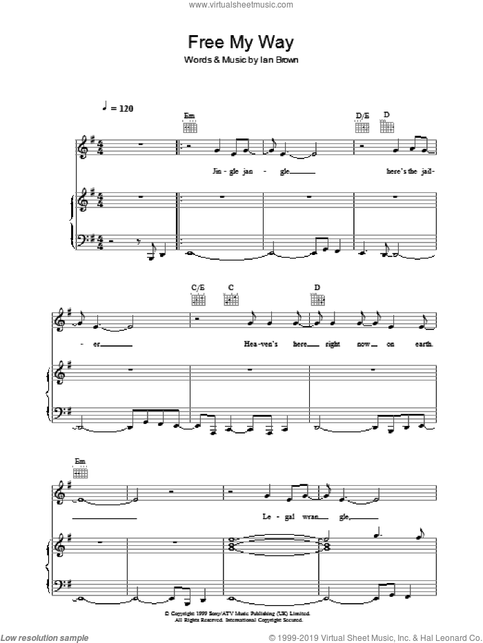 Free My Way sheet music for voice, piano or guitar by Ian Brown, intermediate skill level