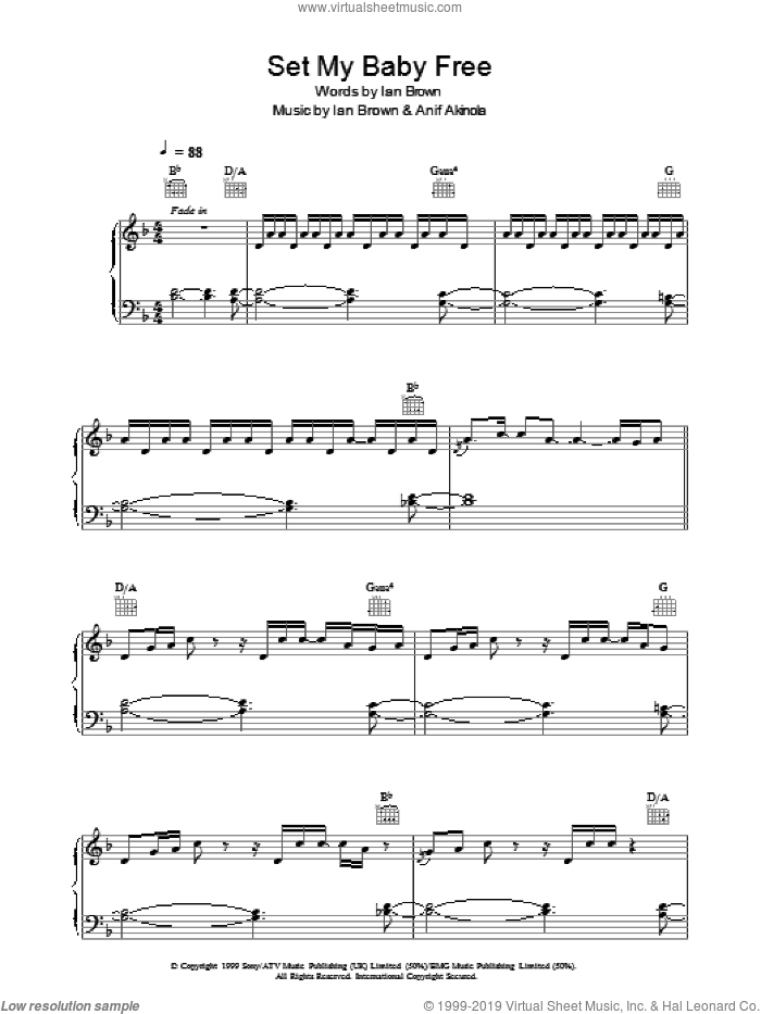 Set My Baby Free sheet music for voice, piano or guitar by Ian Brown, intermediate. Score Image Preview.