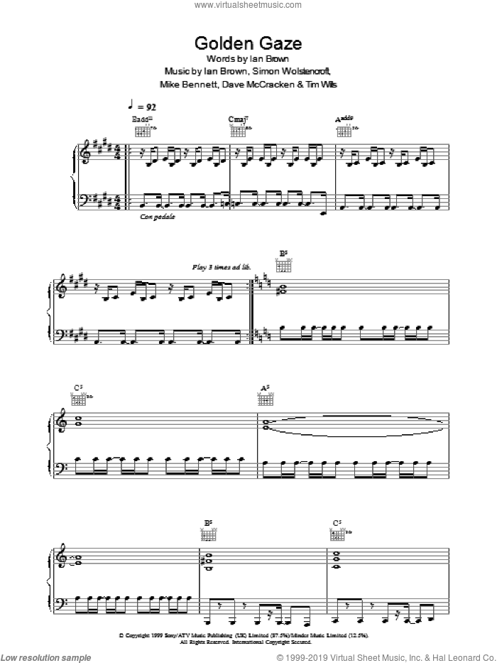 Golden Gaze sheet music for voice, piano or guitar by Ian Brown, Dave McCracken, Mike Bennett, Simon Wolstencroft and Tim Wills, intermediate. Score Image Preview.