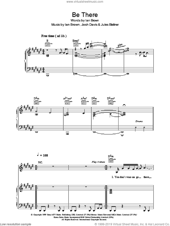 Be There sheet music for voice, piano or guitar by Unkle, Ian Brown, Josh Davis and Jules Blattner, intermediate skill level