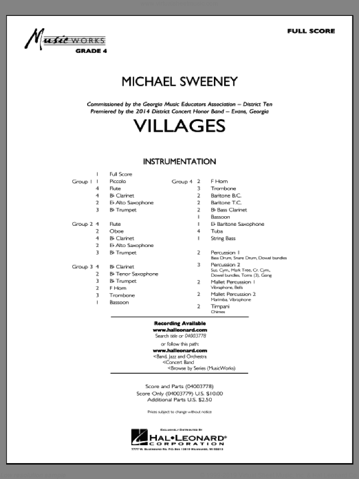 Villages (COMPLETE) sheet music for concert band by Michael Sweeney, intermediate