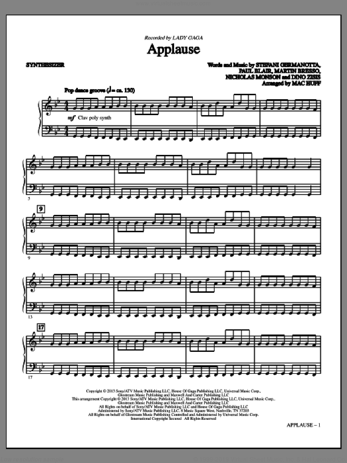 Applause (complete set of parts) sheet music for orchestra/band by Mac Huff, Dino Zisis, Julien Arias, Lady Gaga, Martin Bresso, Nicholas Mercier, Nicholas Monson, Paul Blair and William Grigahcine, intermediate skill level