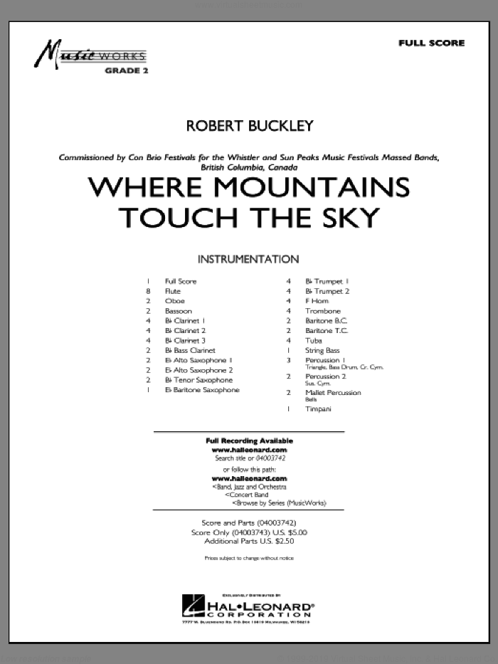 Where Mountains Touch the Sky (COMPLETE) sheet music for concert band by Robert Buckley, intermediate. Score Image Preview.