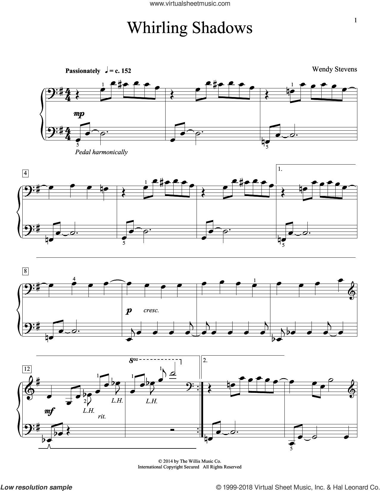 Whirling Shadows sheet music for piano solo (elementary) by Wendy Stevens, beginner piano (elementary)