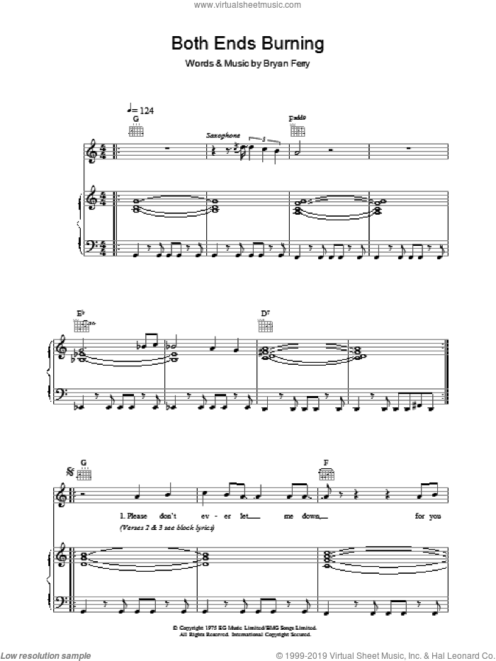 Both Ends Burning sheet music for voice, piano or guitar by Roxy Music and Bryan Ferry, intermediate. Score Image Preview.