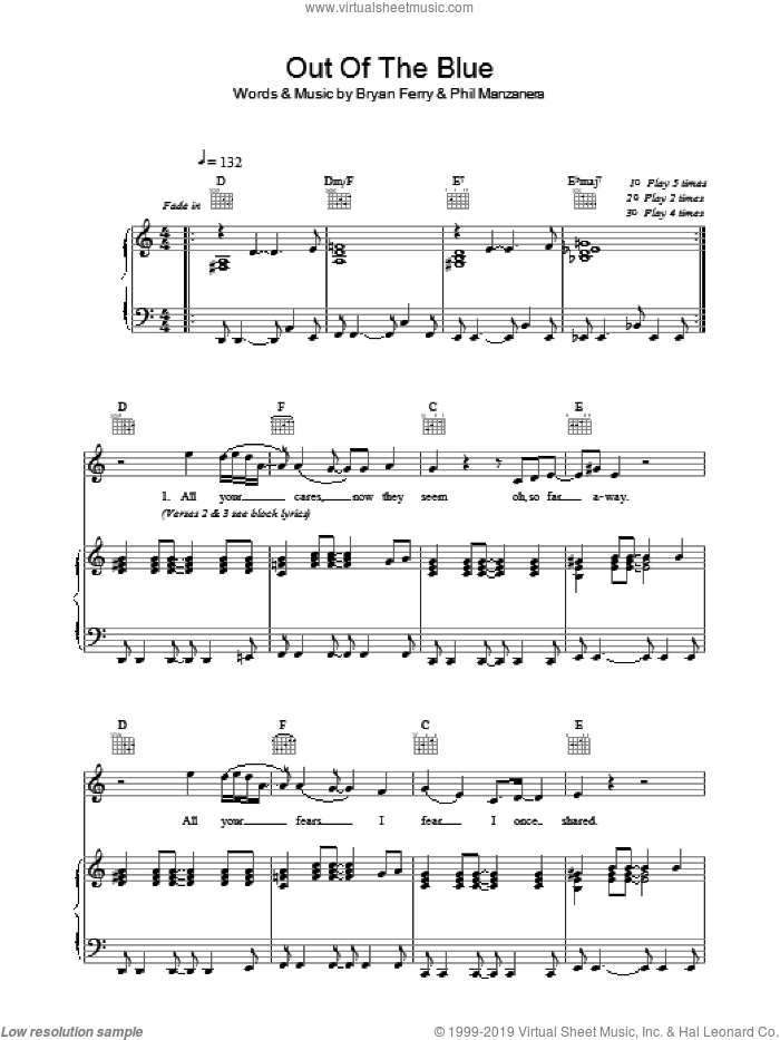 Out Of The Blue sheet music for voice, piano or guitar by Phil Manzanera, Roxy Music and Bryan Ferry. Score Image Preview.