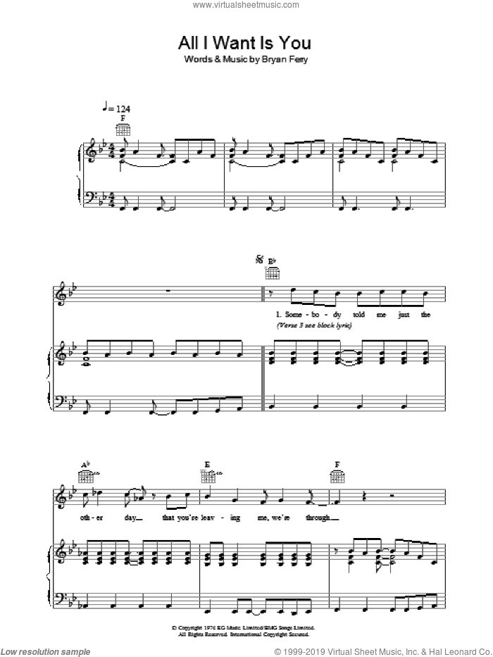 All I Want Is You sheet music for voice, piano or guitar by Bryan Ferry and Roxy Music. Score Image Preview.