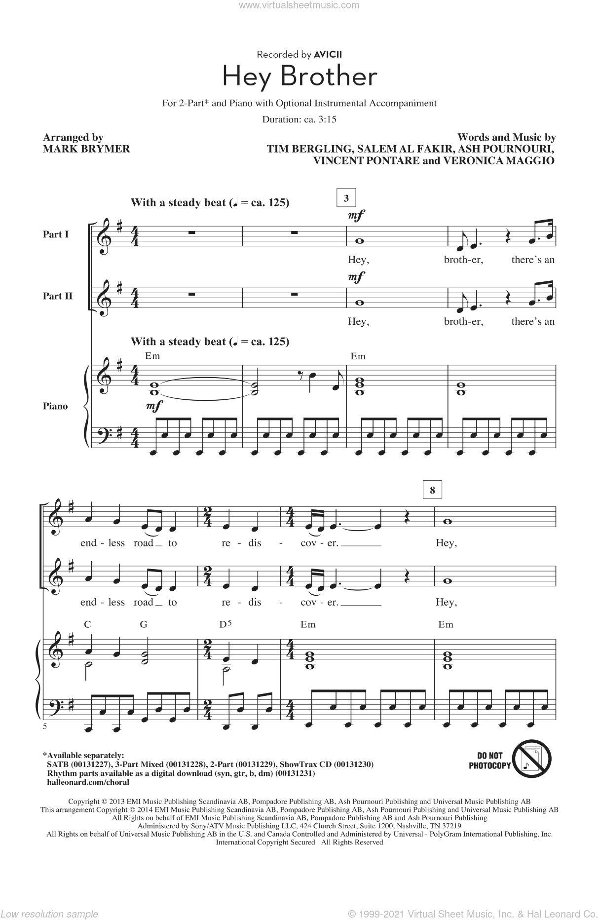 Hey Brother sheet music for choir (2-Part) by Mark Brymer and Avicii, intermediate duet. Score Image Preview.