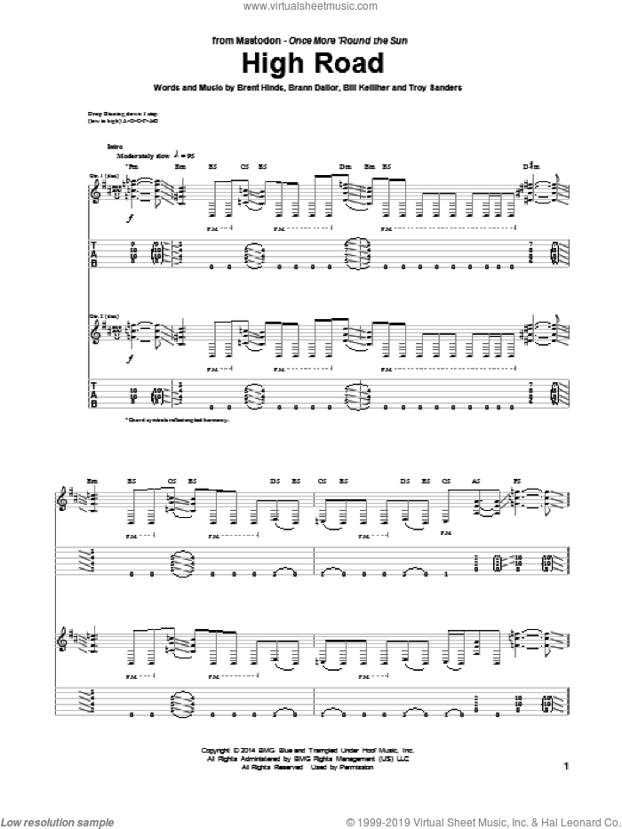 High Road sheet music for guitar (tablature) by Troy Sanders and Mastodon. Score Image Preview.