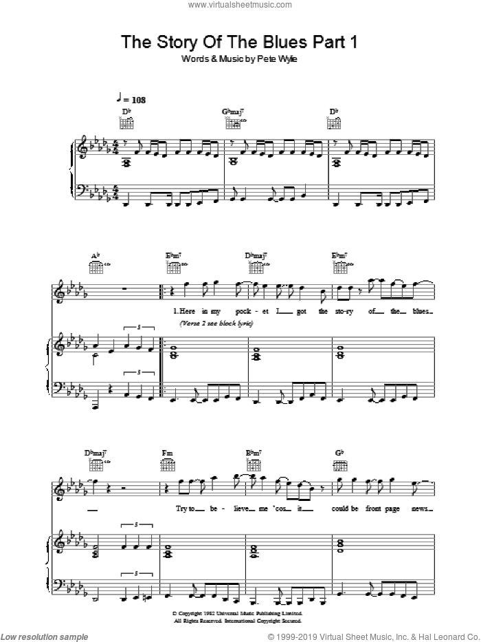 The Story Of The Blues Part 1 sheet music for voice, piano or guitar by Wah!. Score Image Preview.