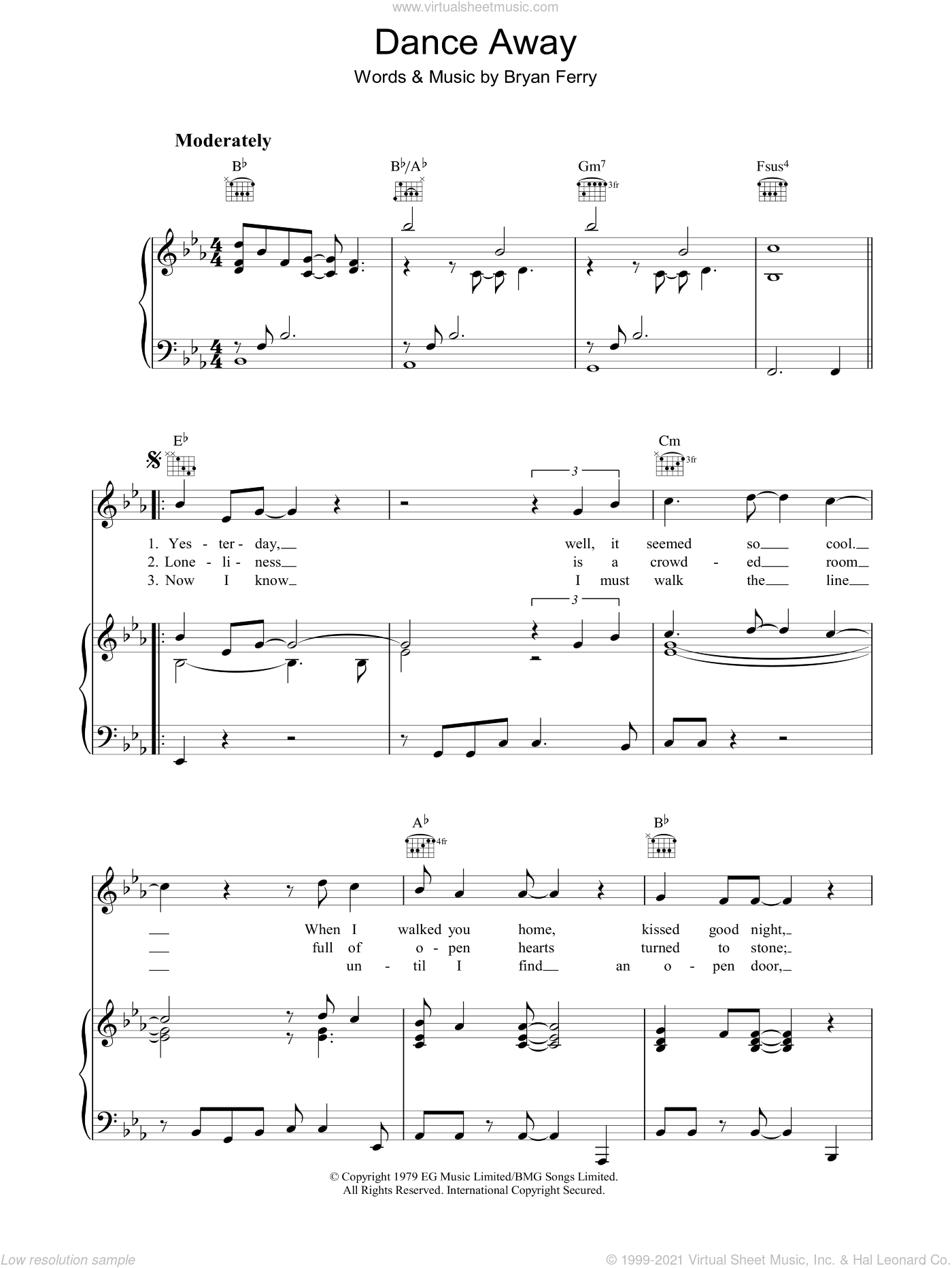 Dance Away sheet music for voice, piano or guitar by Roxy Music and Bryan Ferry. Score Image Preview.
