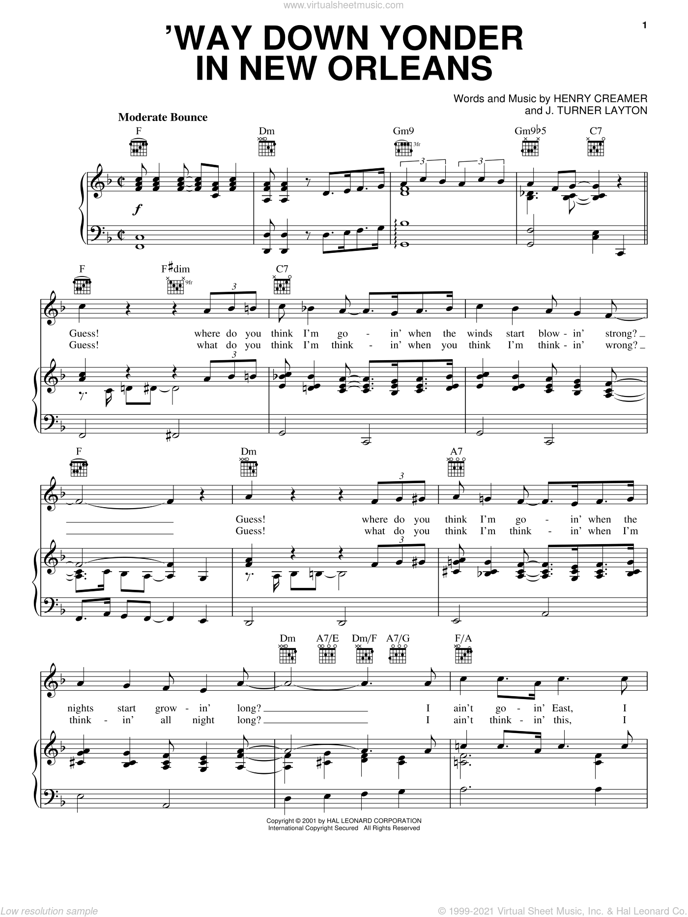 'Way Down Yonder In New Orleans sheet music for voice, piano or guitar by Blossom Seely, Freddy Cannon, Henry Creamer and Turner Layton, intermediate skill level