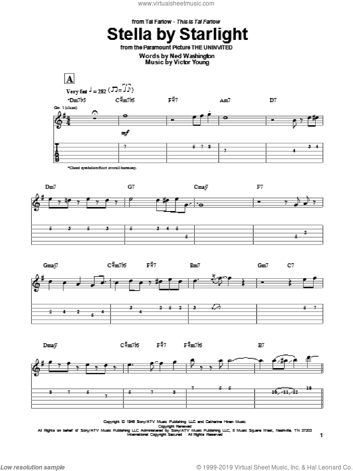 Stella By Starlight sheet music for guitar (tablature) by Tal Farlow, Ray Charles, Ned Washington and Victor Young, intermediate skill level