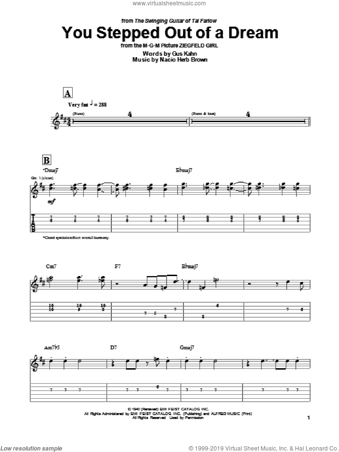You Stepped Out Of A Dream sheet music for guitar (tablature) by Tal Farlow, Gus Kahn and Nacio Herb Brown. Score Image Preview.