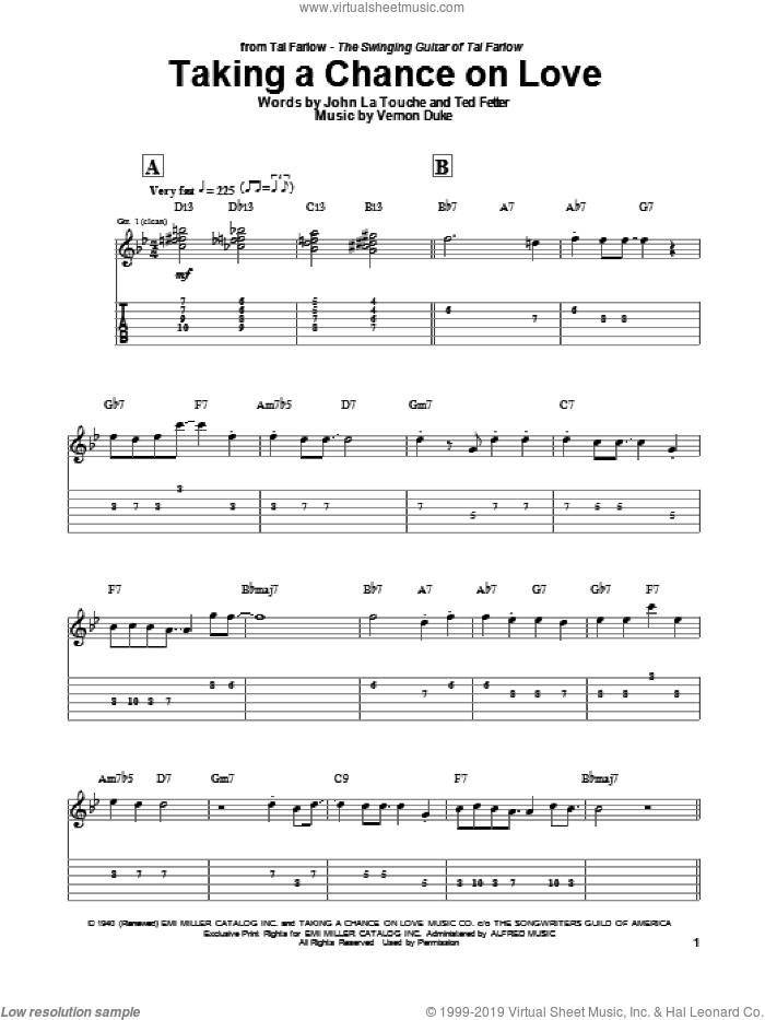 Taking A Chance On Love sheet music for guitar (tablature) by Vernon Duke, Tal Farlow, John Latouche and Ted Fetter. Score Image Preview.