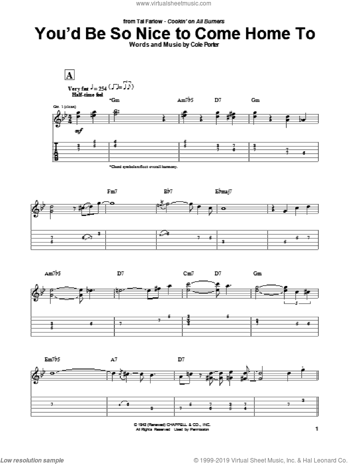 You'd Be So Nice To Come Home To sheet music for guitar (tablature) by Tal Farlow and Cole Porter, intermediate skill level