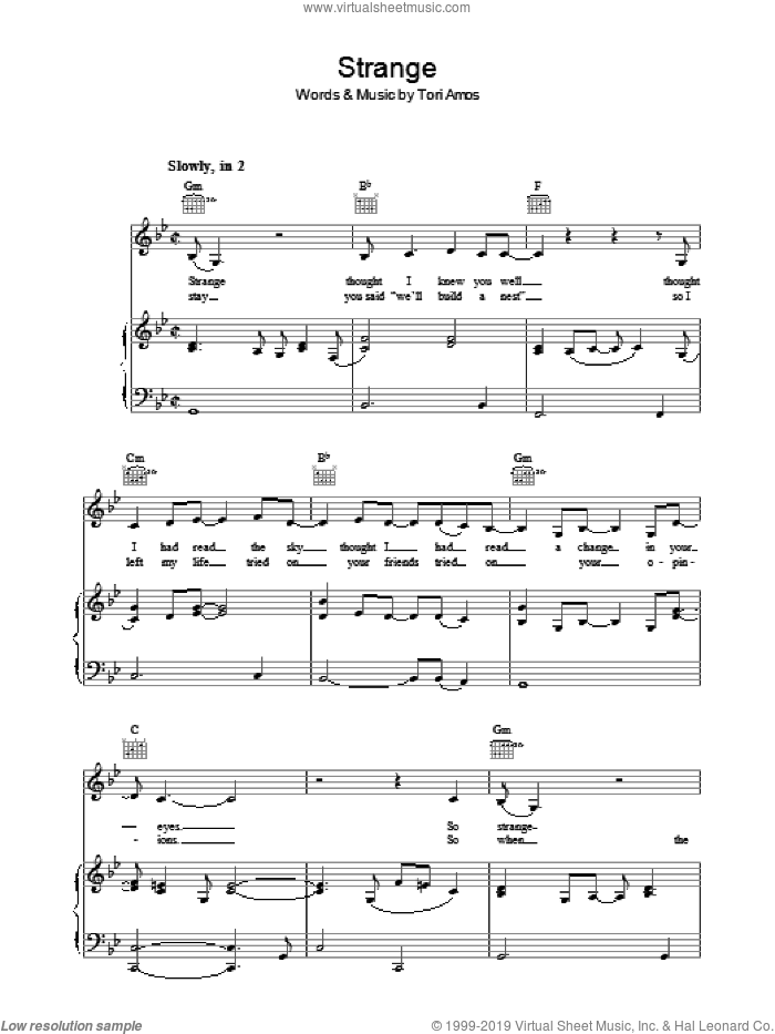 Strange sheet music for voice, piano or guitar by Tori Amos, intermediate skill level