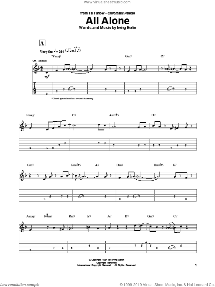 All Alone sheet music for guitar (tablature) by Tal Farlow, Al Jolson, Alice Faye, Grace Moore and Oscar Shaw and Irving Berlin, intermediate skill level