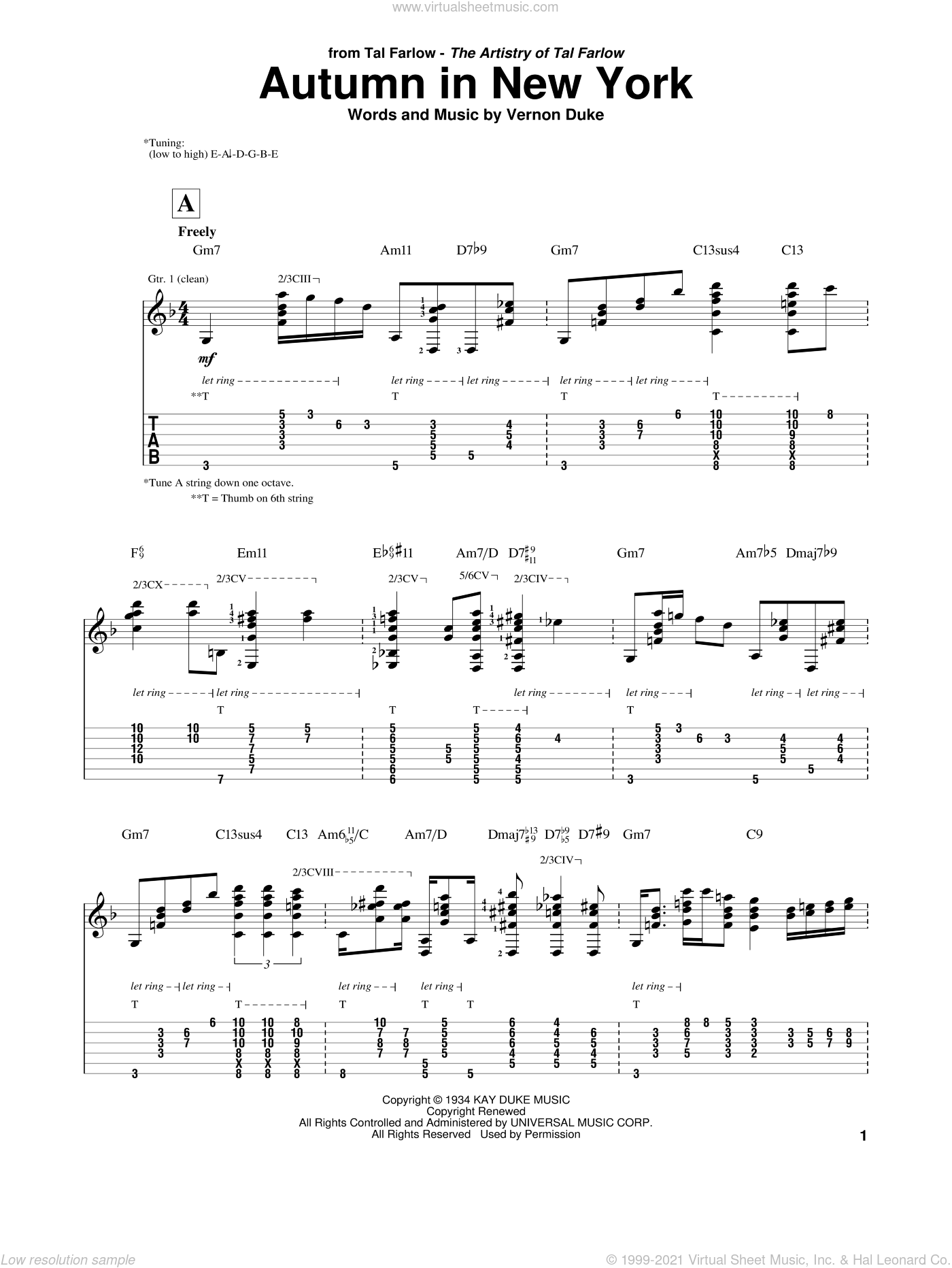 Autumn In New York sheet music for guitar (tablature) by Tal Farlow, Bud Powell, Jo Stafford and Vernon Duke, intermediate guitar (tablature). Score Image Preview.