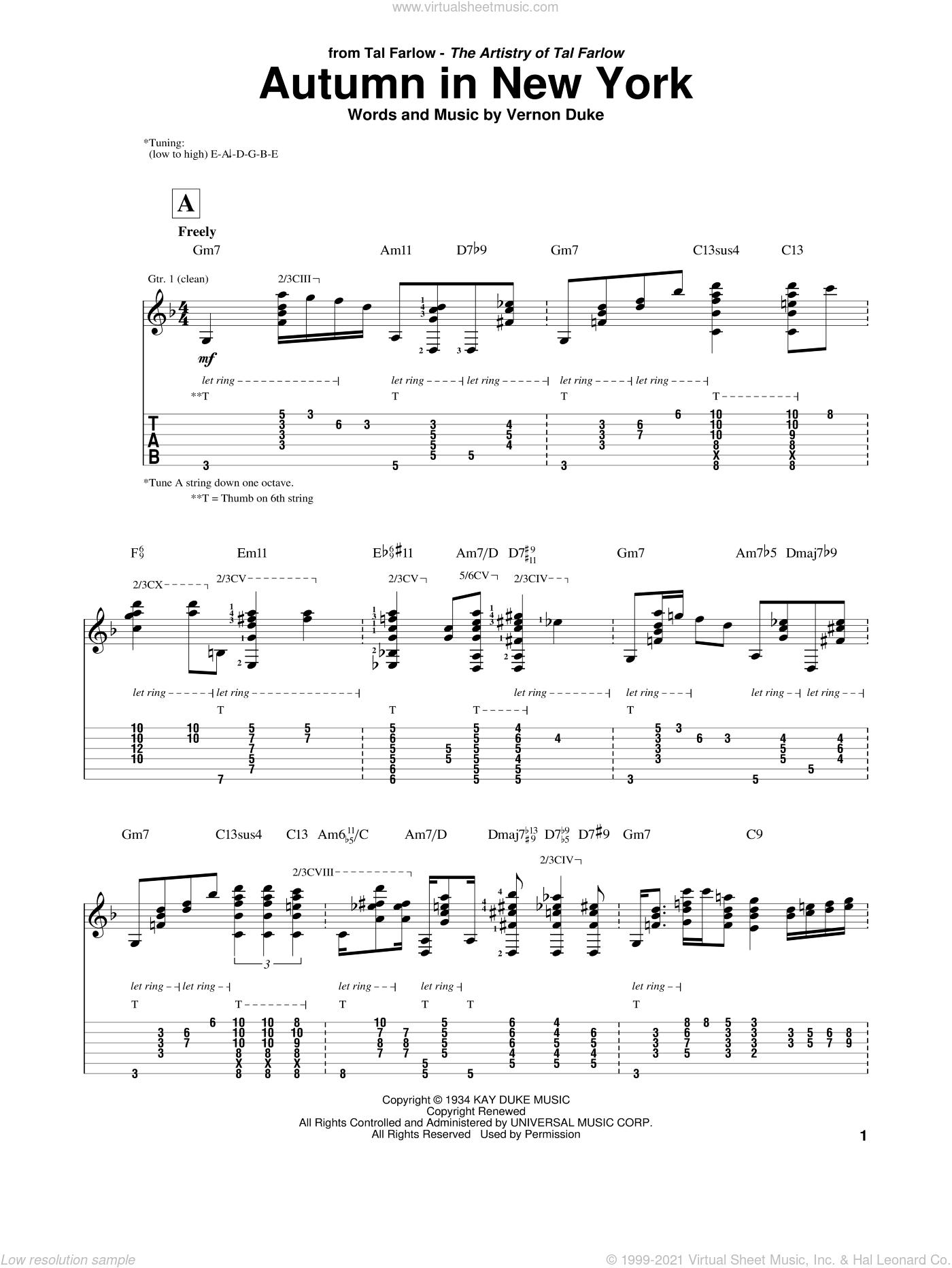 Autumn In New York sheet music for guitar (tablature) by Tal Farlow, Bud Powell, Jo Stafford and Vernon Duke, intermediate skill level