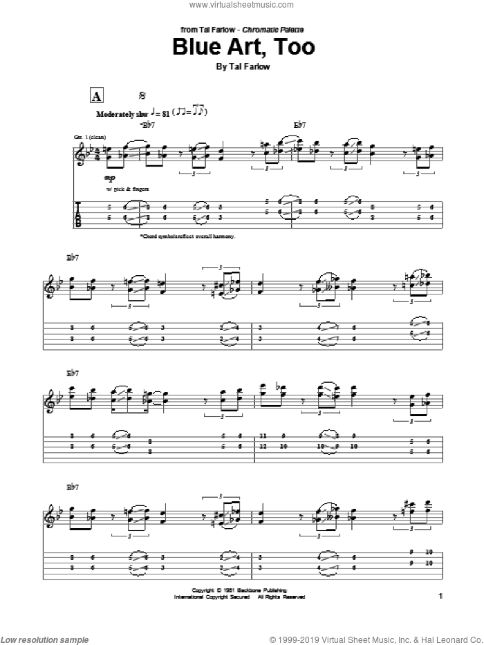 Blue Art, Too sheet music for guitar (tablature) by Tal Farlow. Score Image Preview.