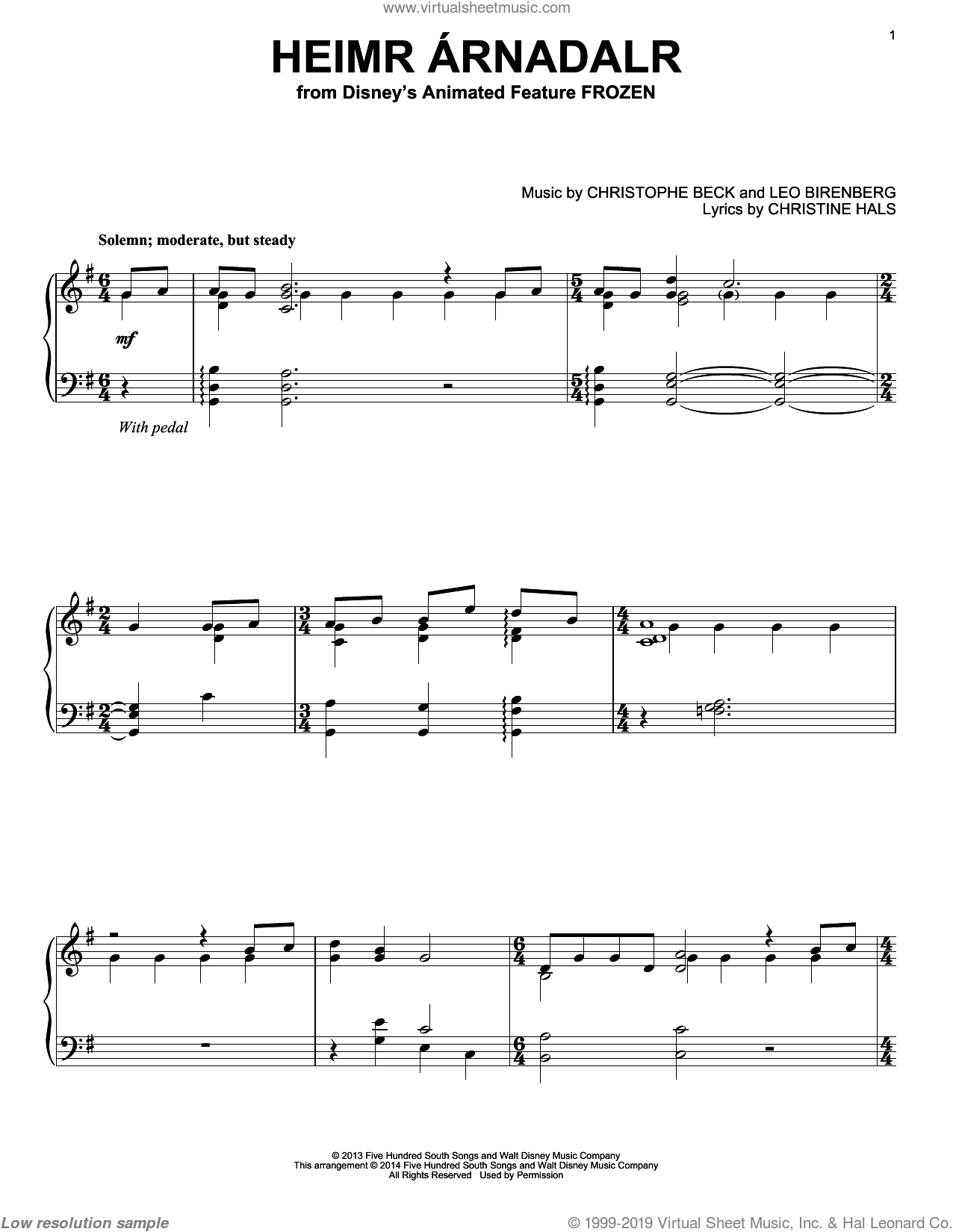 Heimr Arnadalr sheet music for piano solo by Robert Lopez, Kristen Anderson-Lopez, Christophe Beck, Christine Hals and Leo Birenberg, intermediate skill level