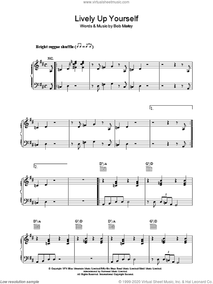 Lively Up Yourself sheet music for voice, piano or guitar by Bob Marley. Score Image Preview.