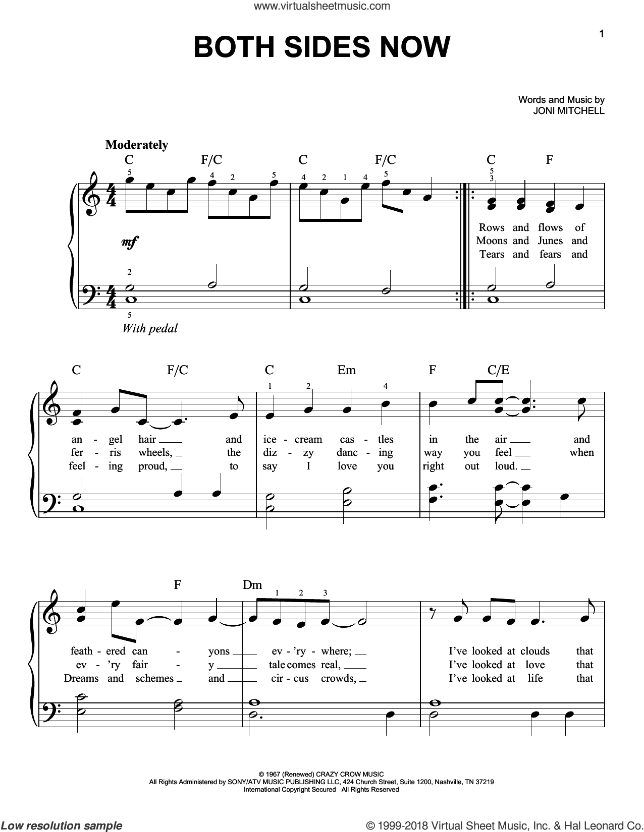 Both Sides Now sheet music for piano solo by Judy Collins, Dion and Joni Mitchell, easy skill level