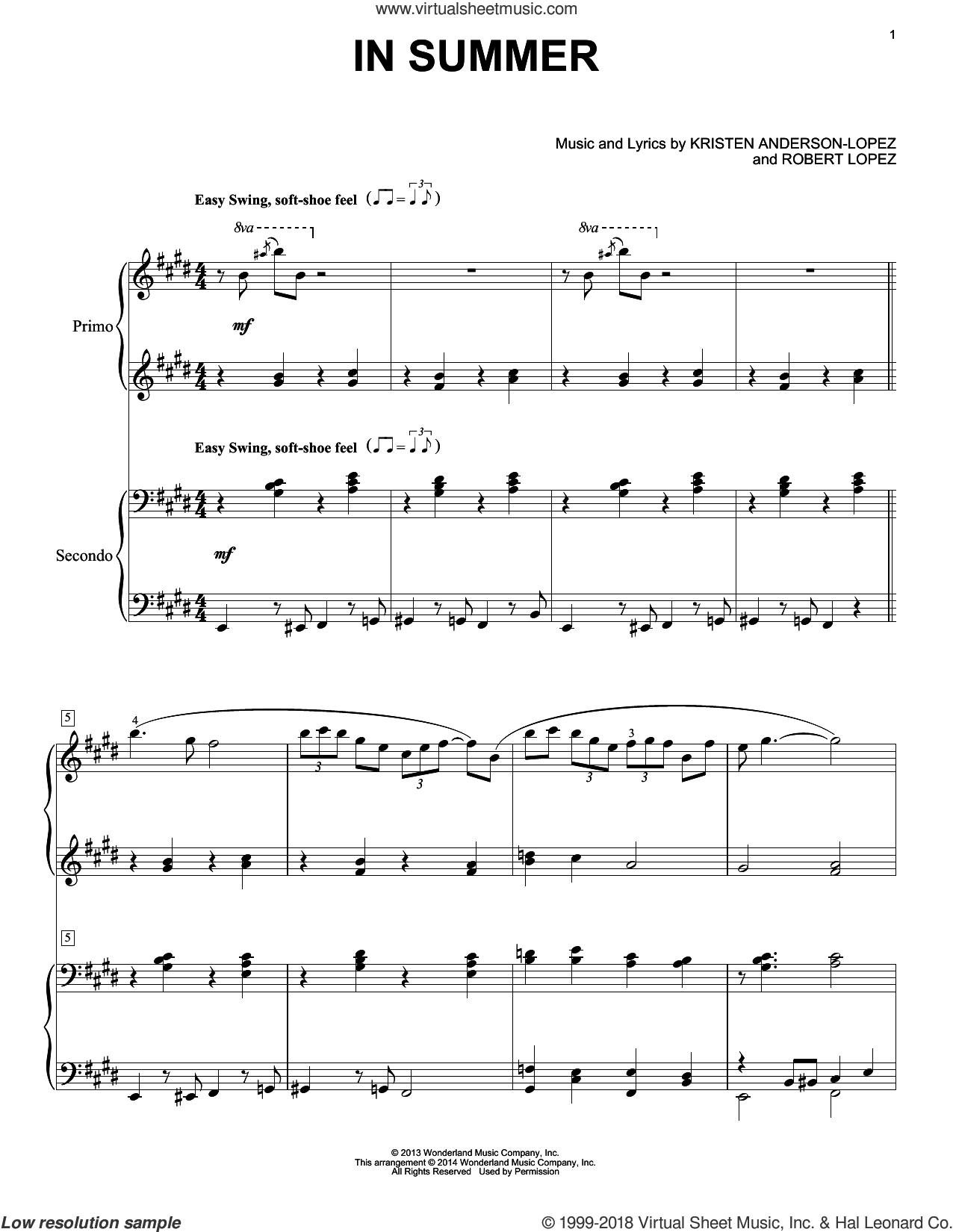 In Summer sheet music for piano four hands (duets) by Robert Lopez and Kristen Anderson-Lopez. Score Image Preview.