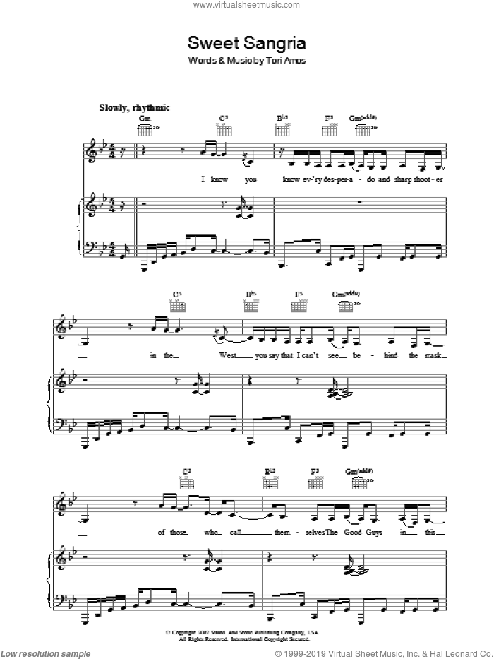 Sweet Sangria sheet music for voice, piano or guitar by Tori Amos. Score Image Preview.