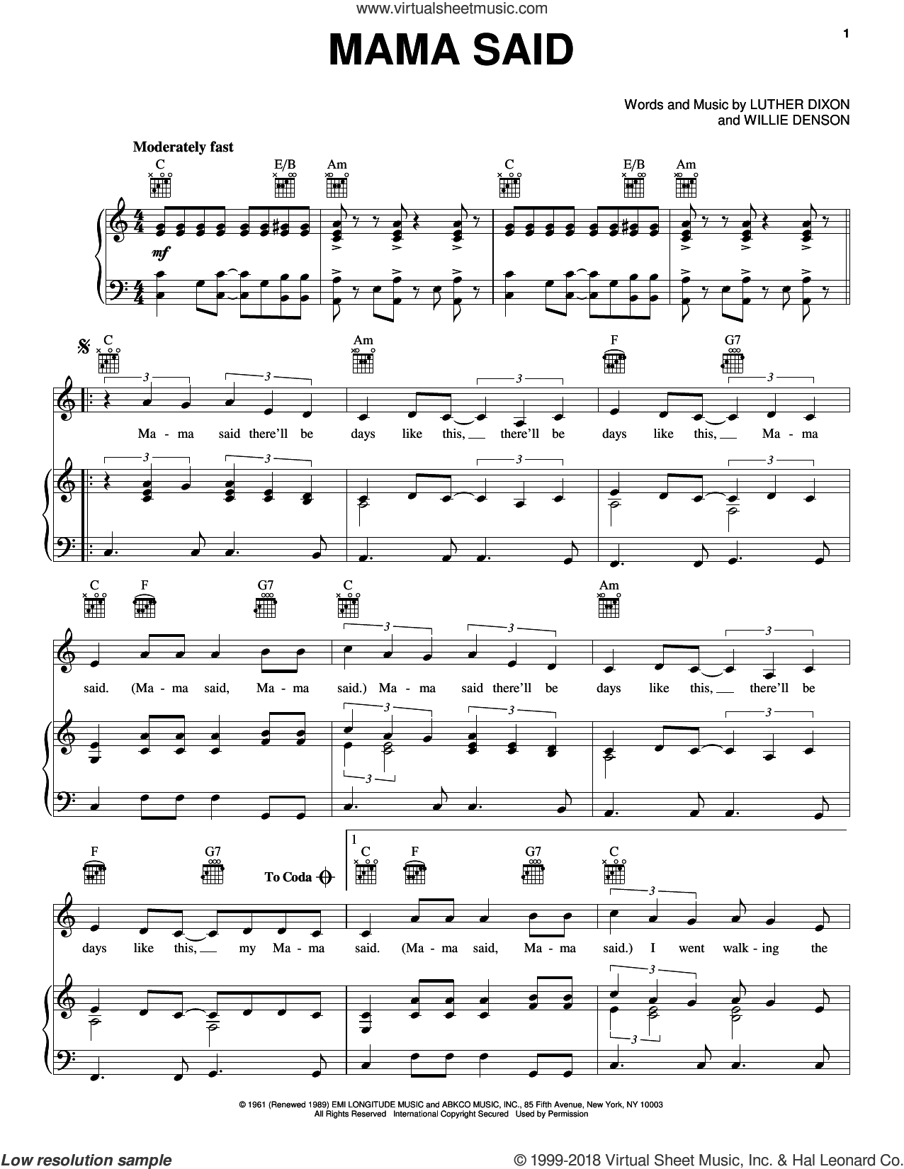 Mama Said sheet music for voice, piano or guitar by The Shirelles, Luther Dixon and Willie Denson, intermediate skill level
