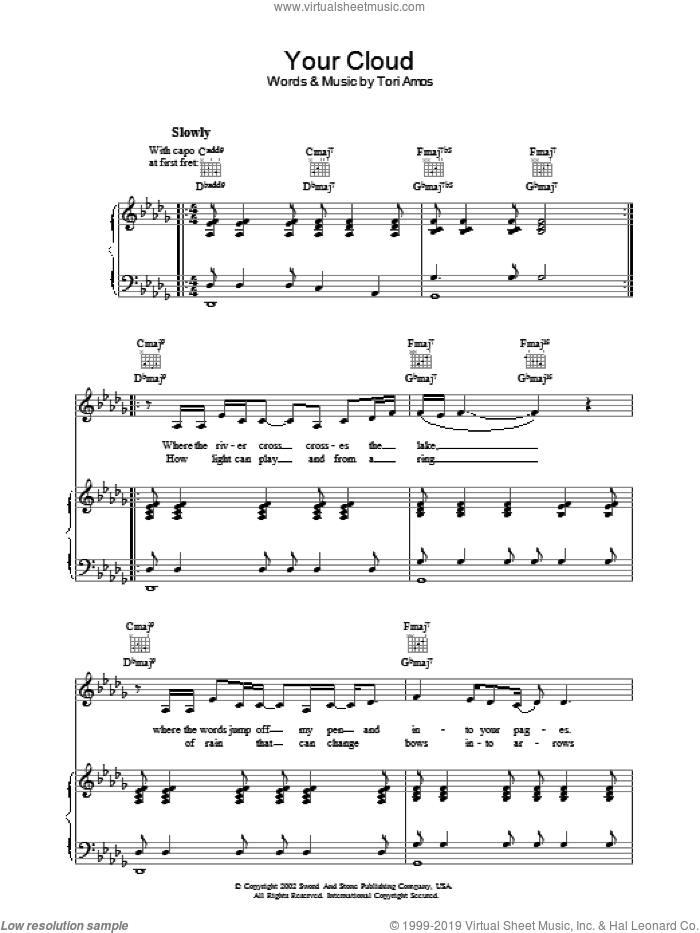 Your Cloud sheet music for voice, piano or guitar by Tori Amos, intermediate. Score Image Preview.