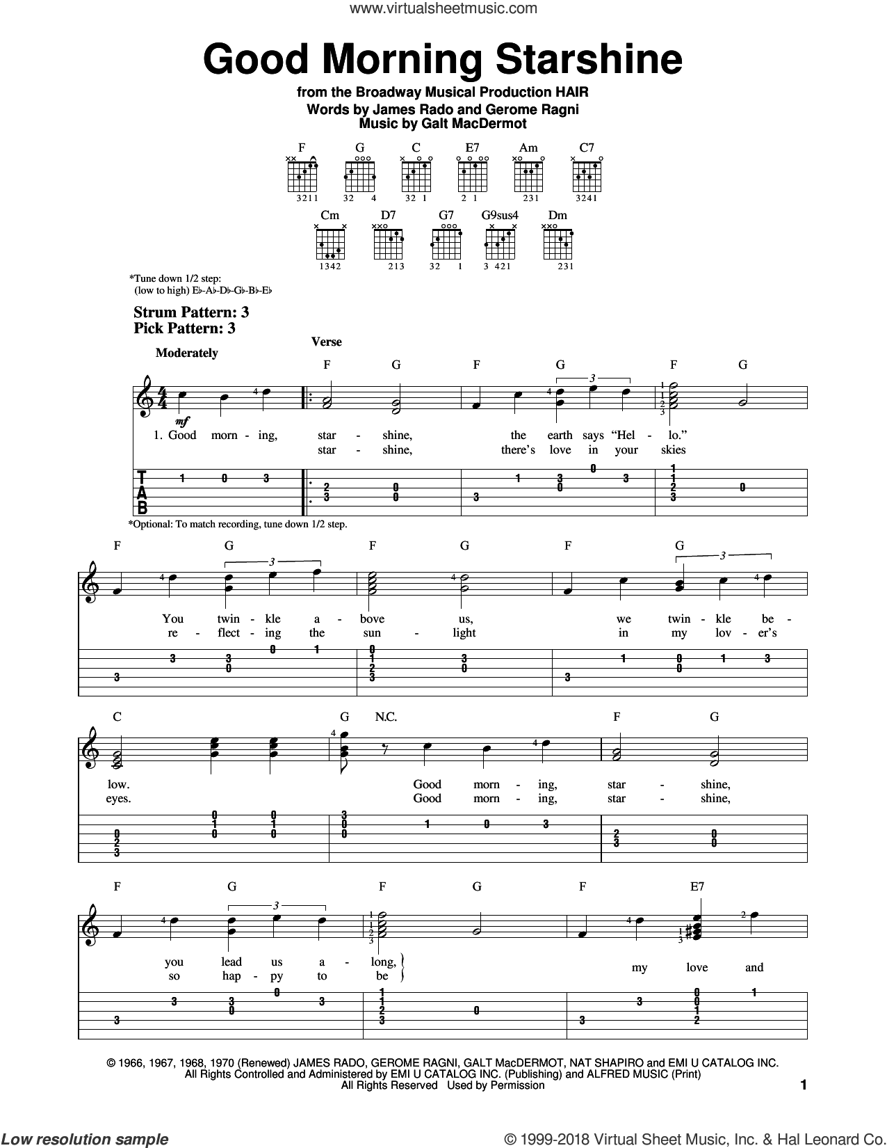 Good Morning Starshine sheet music for guitar solo (easy tablature) by Galt MacDermot, Oliver Holden, Gerome Ragni and James Rado, easy guitar (easy tablature)