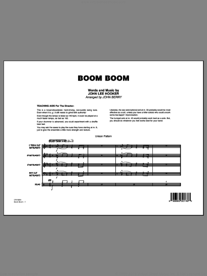 Boom Boom (COMPLETE) sheet music for jazz band by Eric Clapton, Big Head Todd & The Monsters, John Berry, John Lee Hooker and The Animals, intermediate skill level