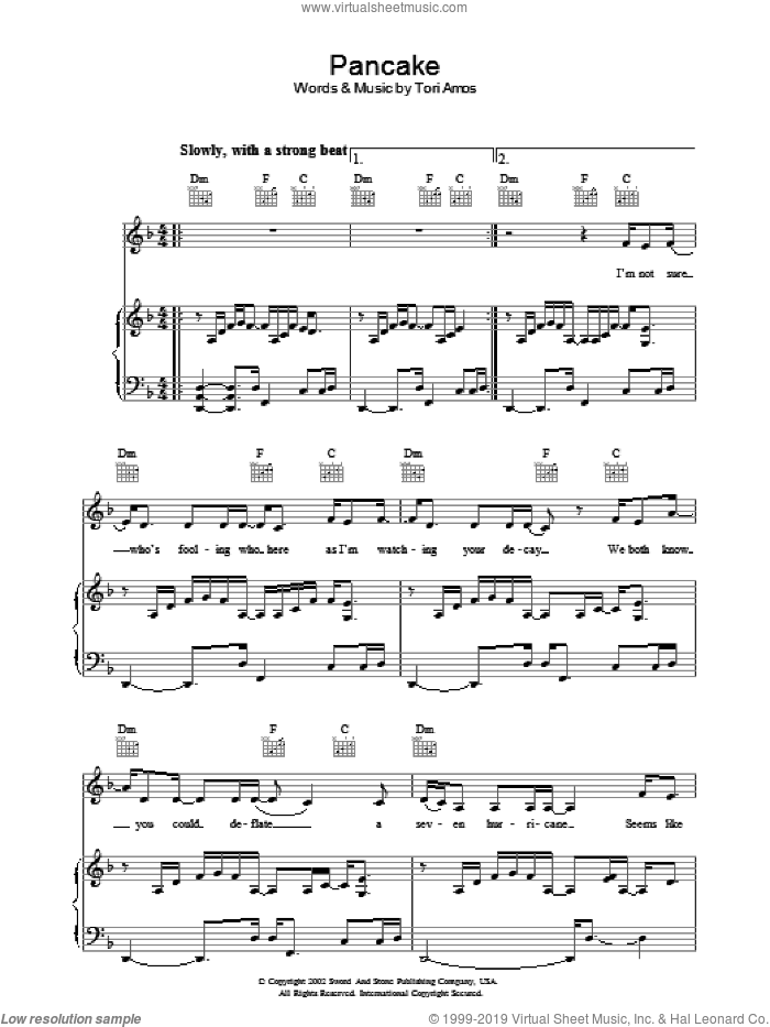 Pancake sheet music for voice, piano or guitar by Tori Amos. Score Image Preview.