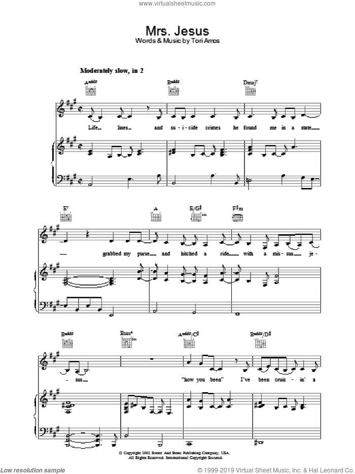 Mrs. Jesus sheet music for voice, piano or guitar by Tori Amos. Score Image Preview.