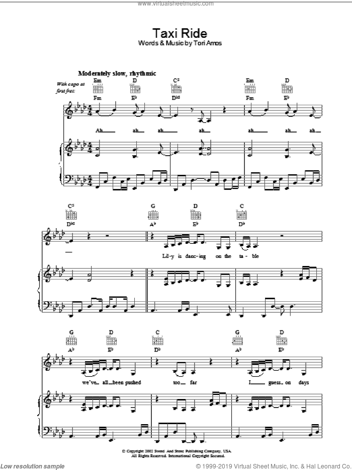 Taxi Ride sheet music for voice, piano or guitar by Tori Amos. Score Image Preview.
