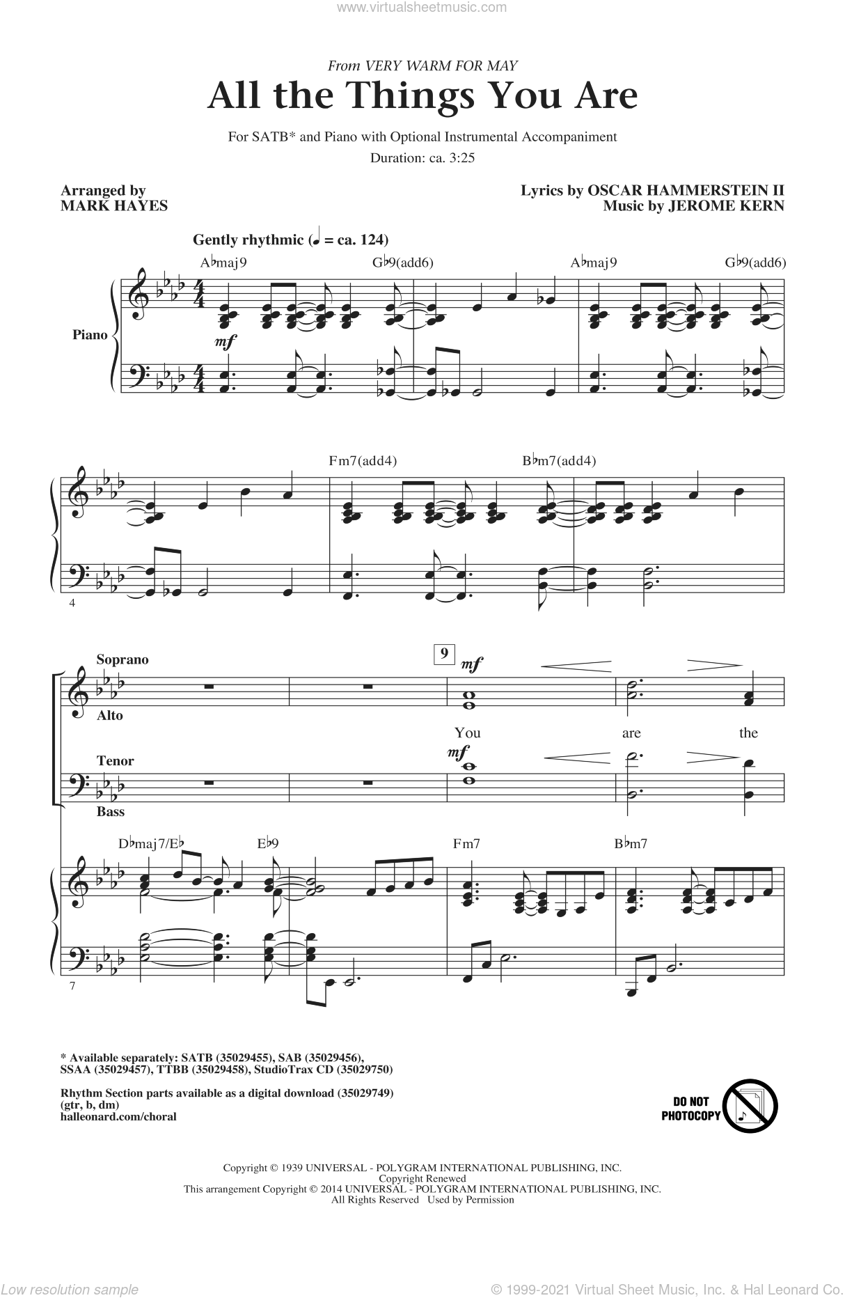 All The Things You Are sheet music for choir and piano (SATB) by Mark Hayes, Jerome Kern and Oscar II Hammerstein. Score Image Preview.