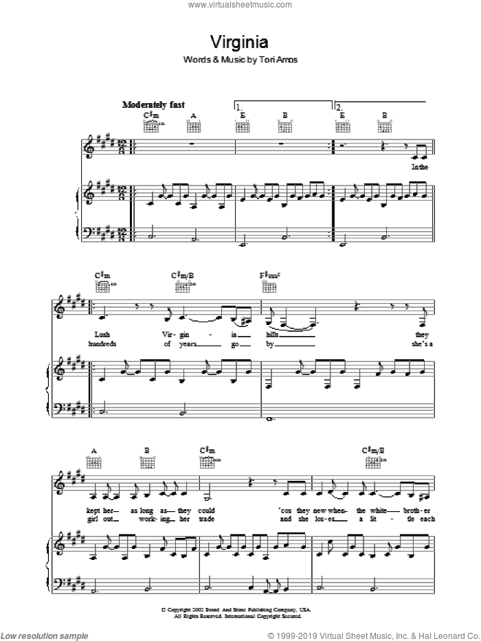 Virginia sheet music for voice, piano or guitar by Tori Amos. Score Image Preview.