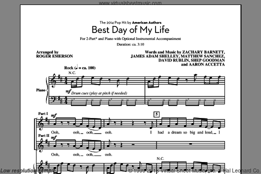 Best Day Of My Life sheet music for choir (duets) by Roger Emerson, American Authors, Aaron Accetta, David Rublin, James Adam Shelley, Matthew Sanchez, Shep Goodman and Zachary Barnett. Score Image Preview.